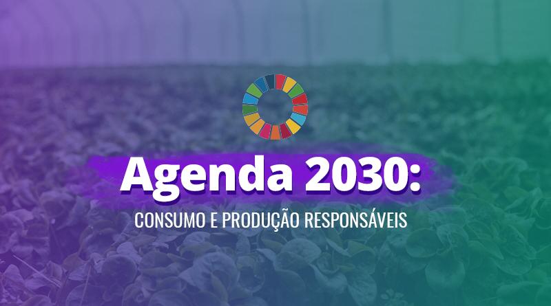 """Plantação com folhas verdes e o título do artigo """"Agenda 2030: Consumo e Produção Responsáveis"""" em destaque no centro da imagem."""
