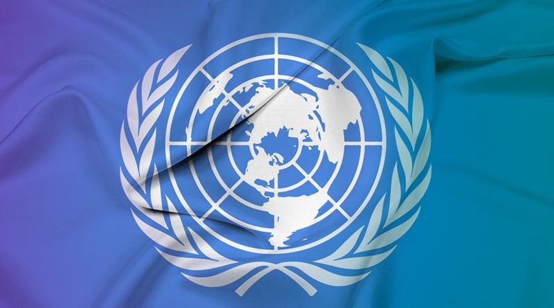 Bandeira da ONU tremulando.
