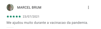 """Avaliação do Colab por Marcel Brum dizendo """"e ajudou muito durante a vacinação da pandemia""""."""