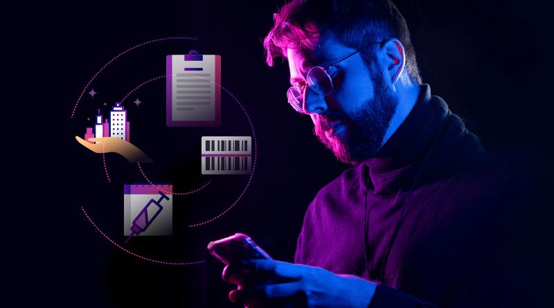 Foto de um homem mexendo no celular com ilustrações ao redor que representam a vacinação, pagamento de boletos, a cidade nas mãos dos gestores e um caderno.