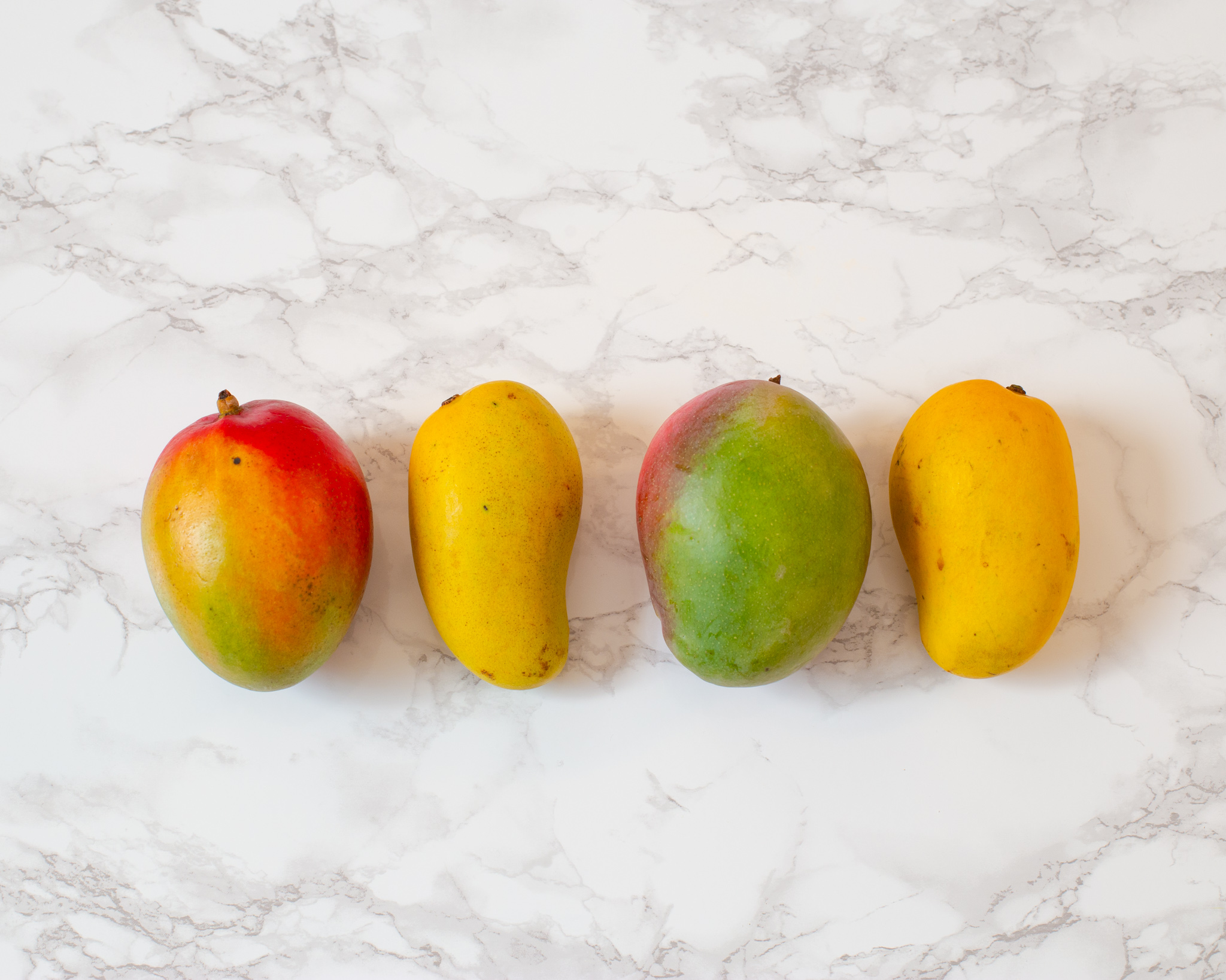 four mangoes lined up in a row on a marble slab