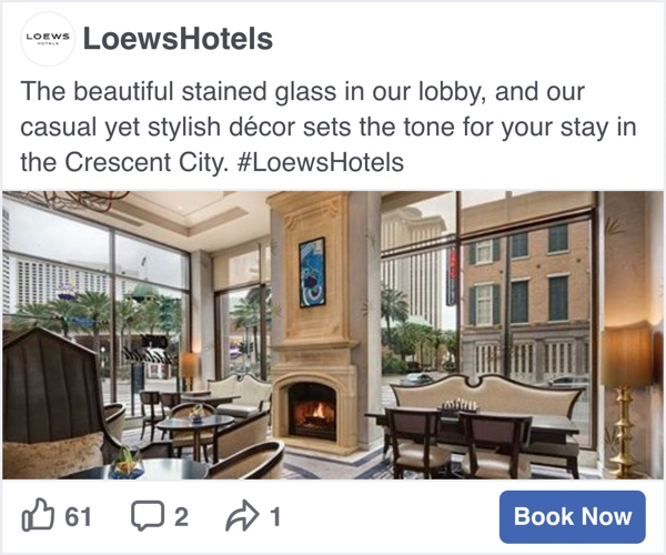 Loews Hotels Facebook Social Display Ad - Spaceback