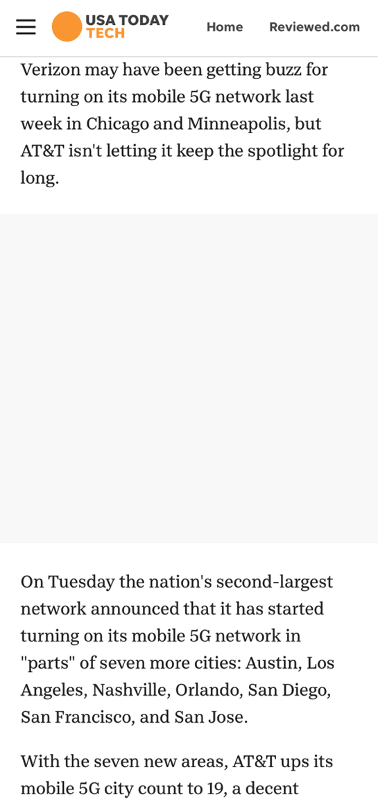 USA Today publisher site on mobile