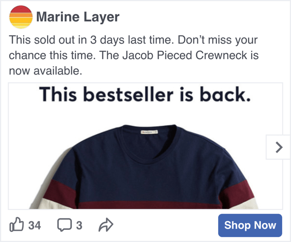 Marine Layer Facebook Social Display advertisment - Spaceback