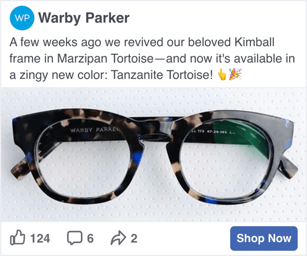 Warby Parker Facebook Social Display programmatic ad - Spaceback