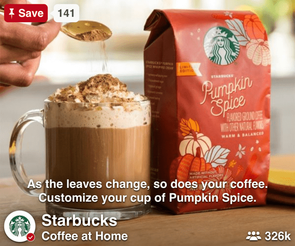 Starbucks Pinterest Social Display ads - Spaceback