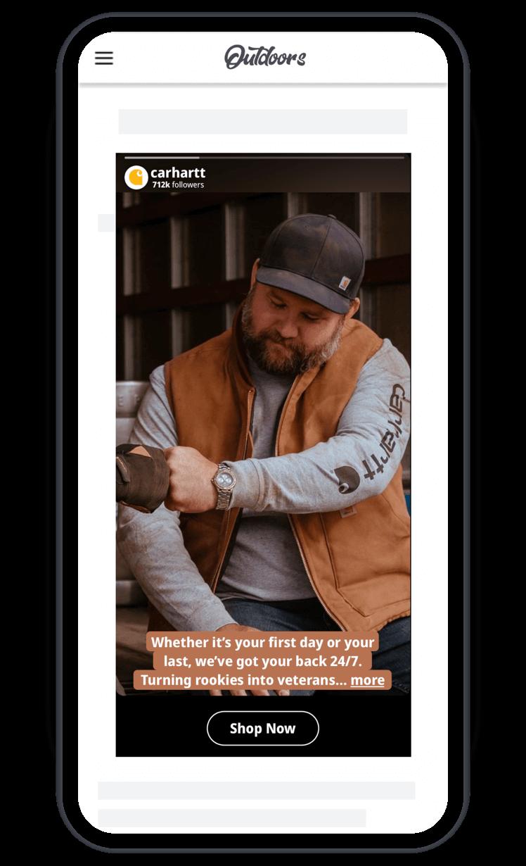 Carhartt Spaceback Social Display Story Ad - Instagram Stories