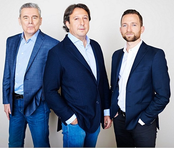 From left, Leaders Fund venture partner Howard Gwin, co-founder David Stein, and co-founder Gideon Hayden. (Not pictured is co-founder Steve DeBacco, who is based in Atlanta.) Courtesy Leaders Fund.