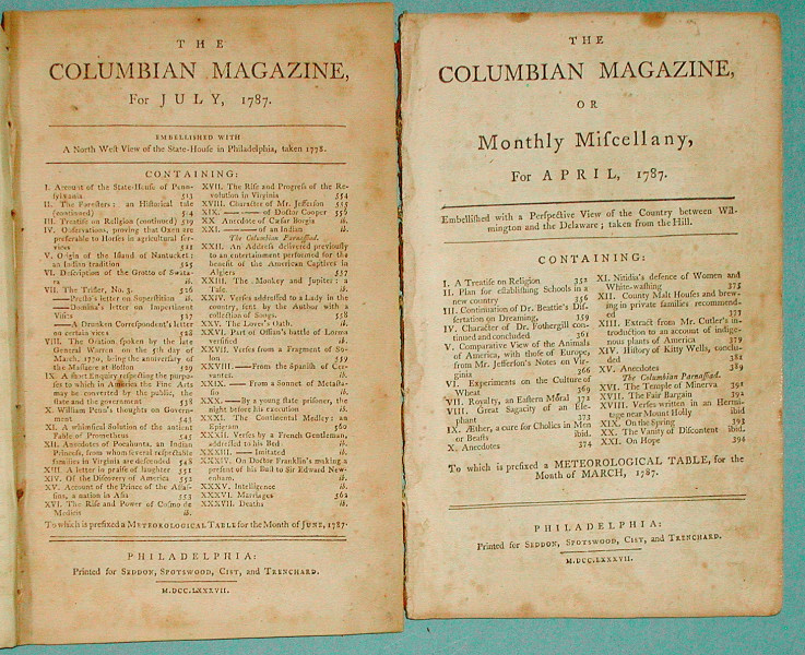 Image result for the columbian magazine 1789