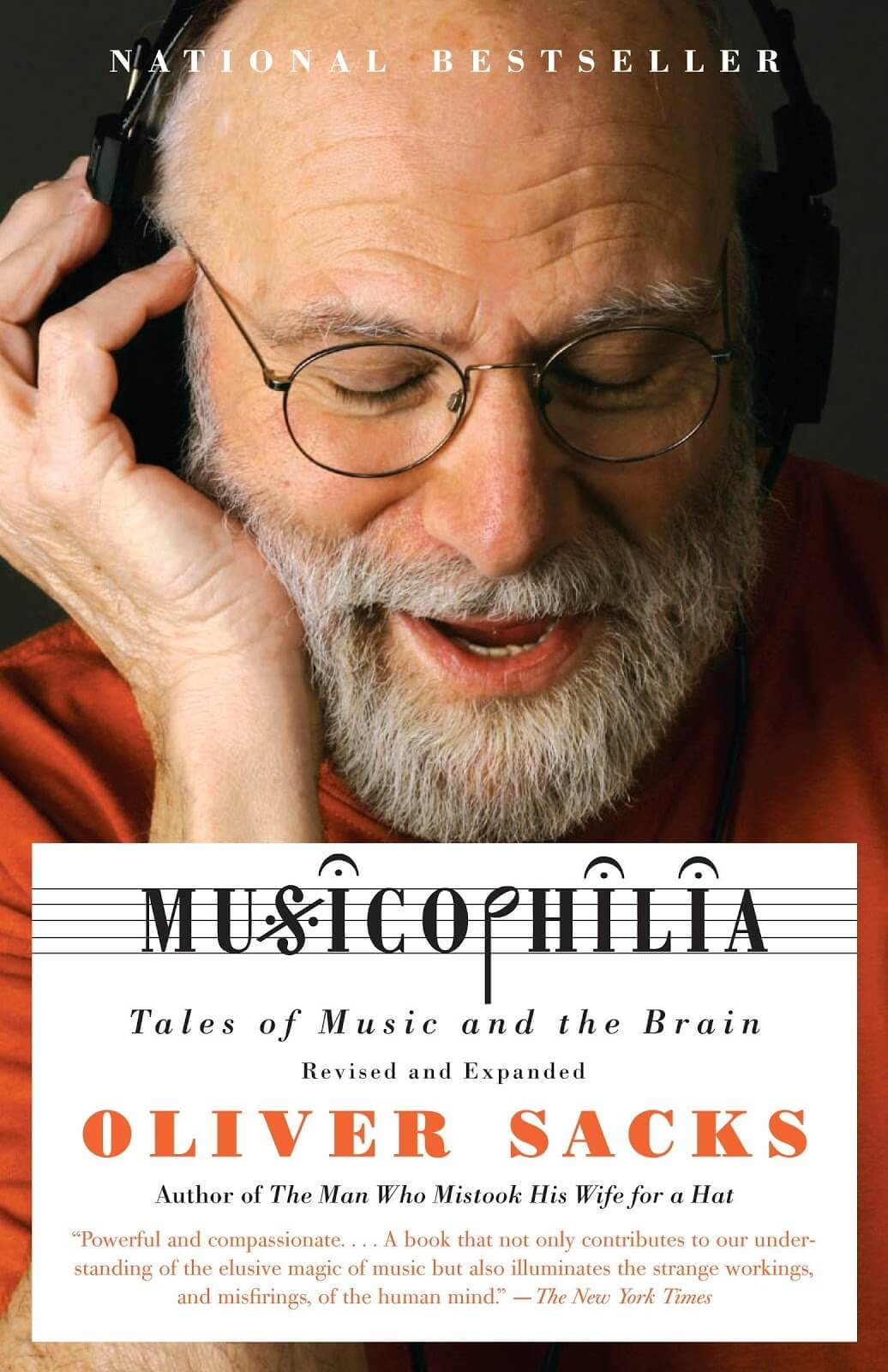 Book cover with an elderly man listening to music