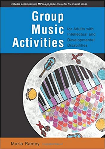 A blue, black, and orange book cover with a rainbow piano and other instruments on it.