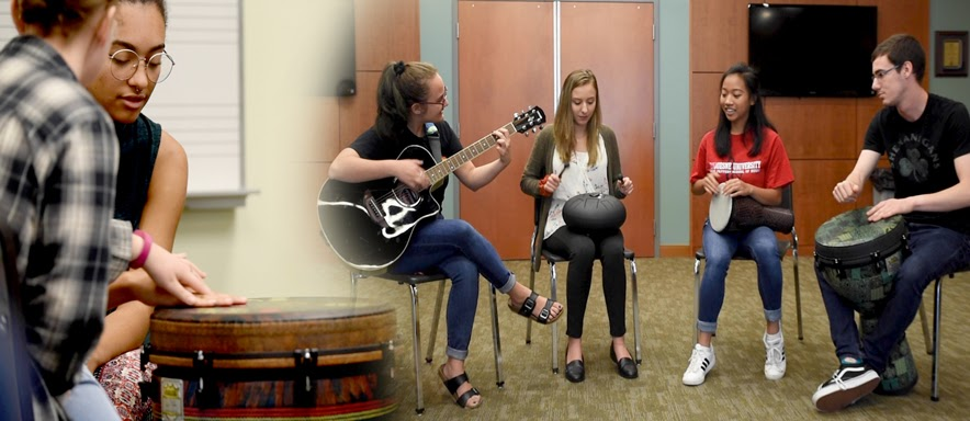 Music therapists perform group therapy.