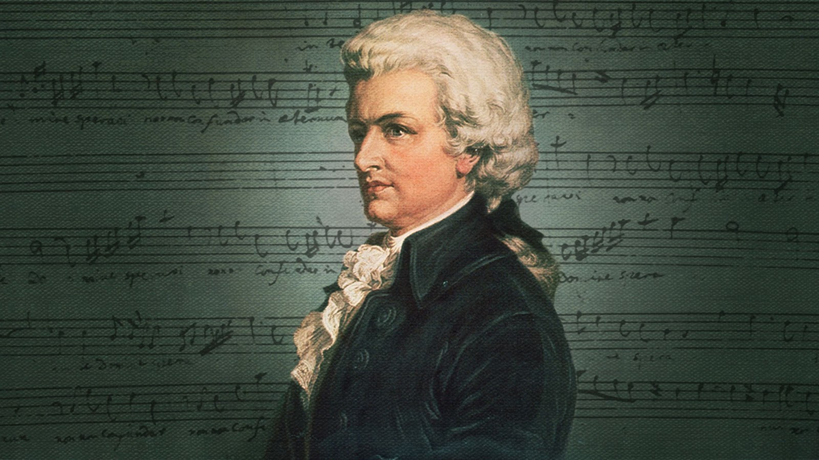 A portrait of Mozart in front of green sheet music.