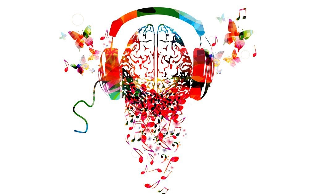 A vibrant, rainbow colored brain wearing headphones.