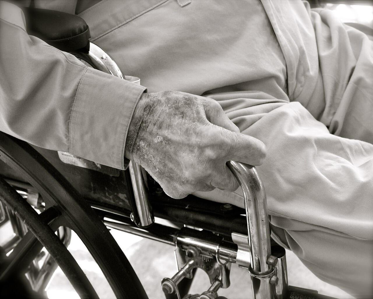 Older person sitting in wheelchair