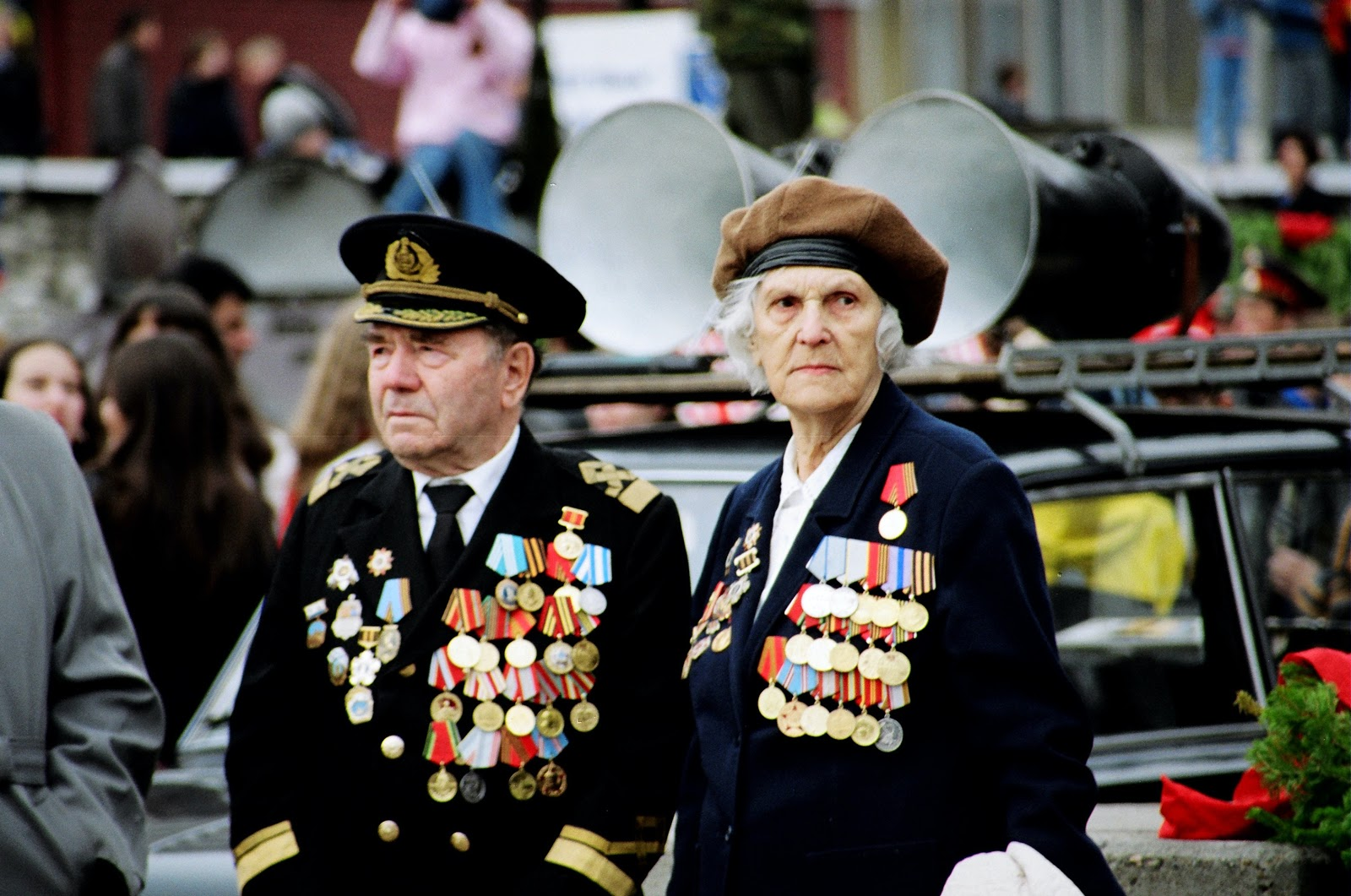 Two veterans with lots of medals