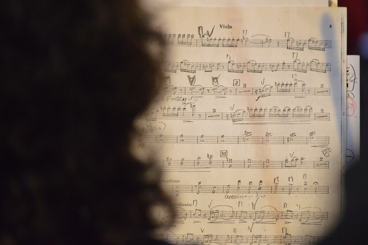 a person looking at a piece of music