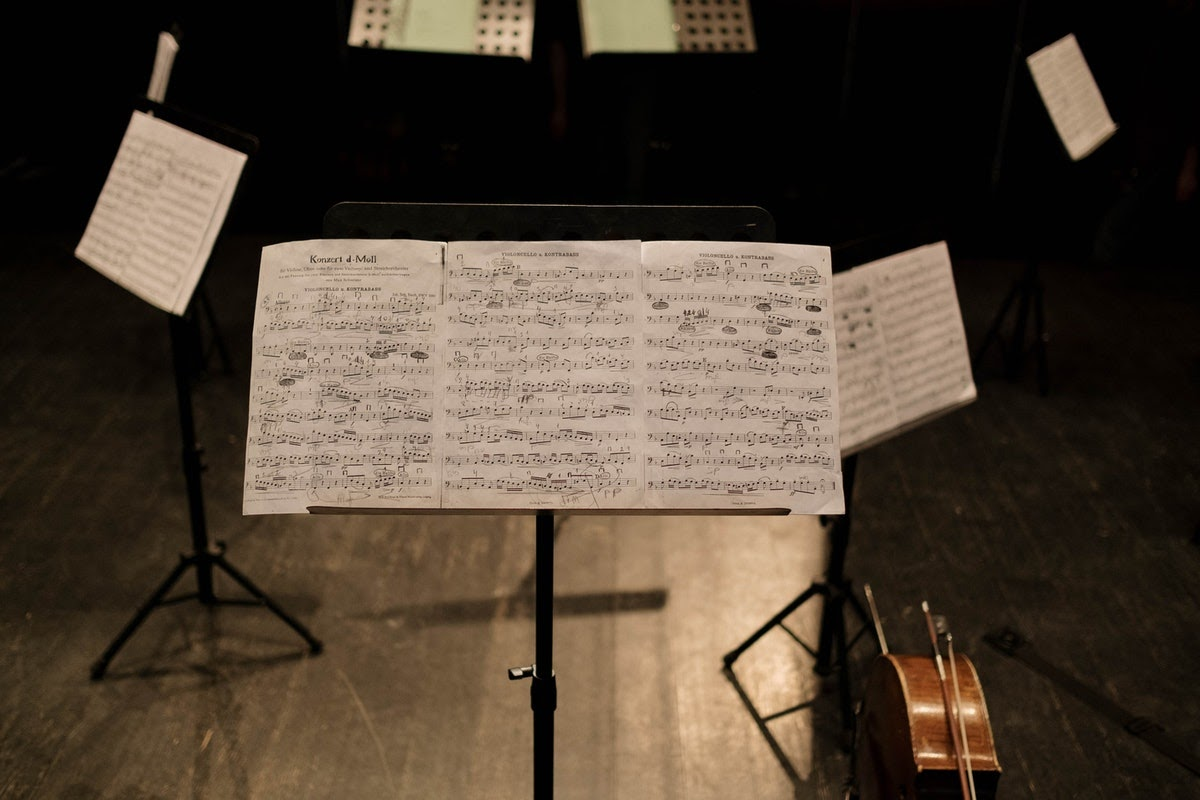 a circle of music stands with sheet music