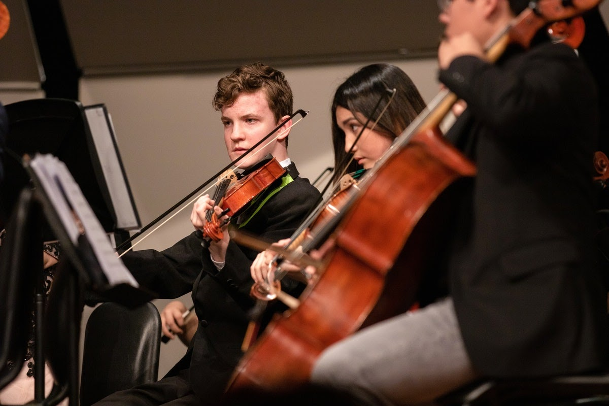 students playing string instruments in an orchestra