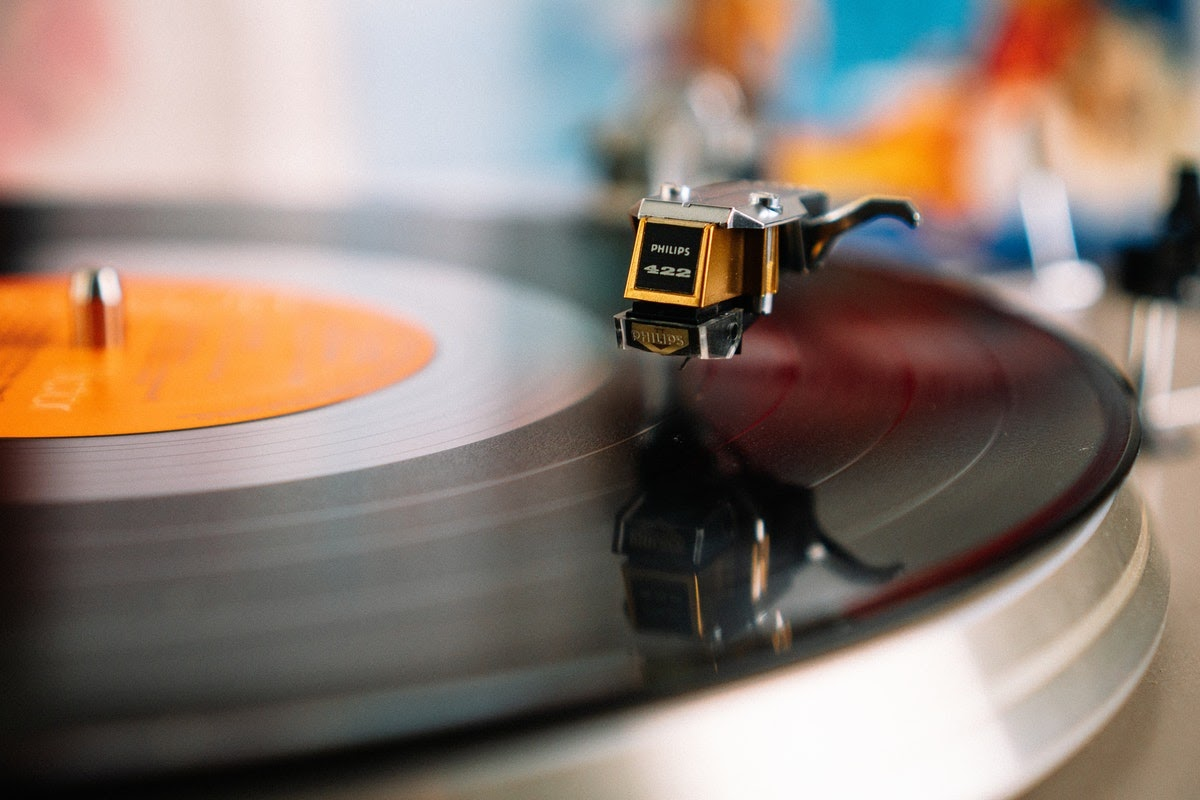 a record player spinning a vinyl record