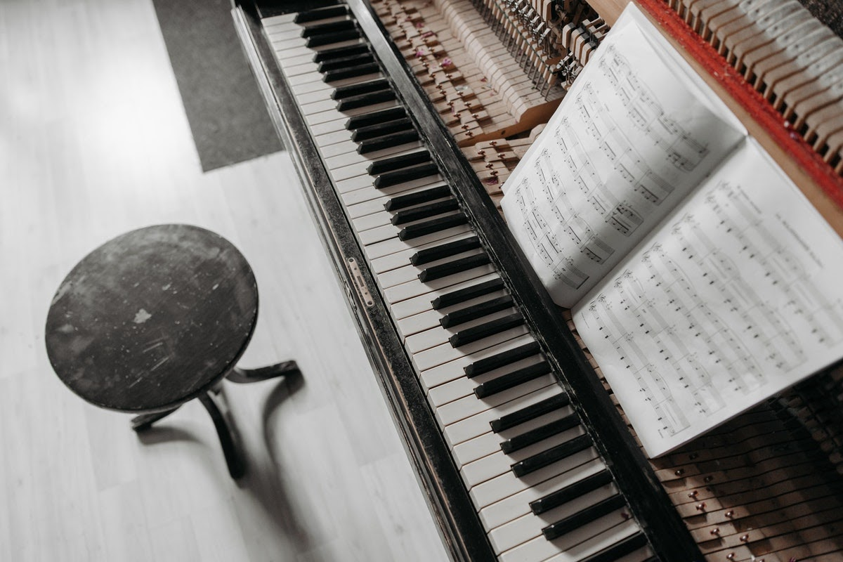a piano with sheet music