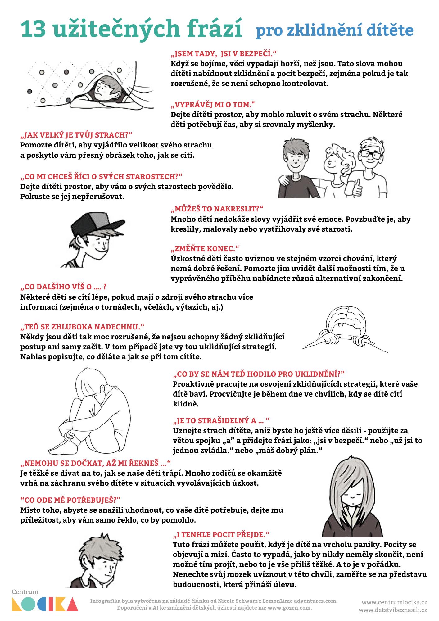 13 užitečných fází pro zklidnění dítěte