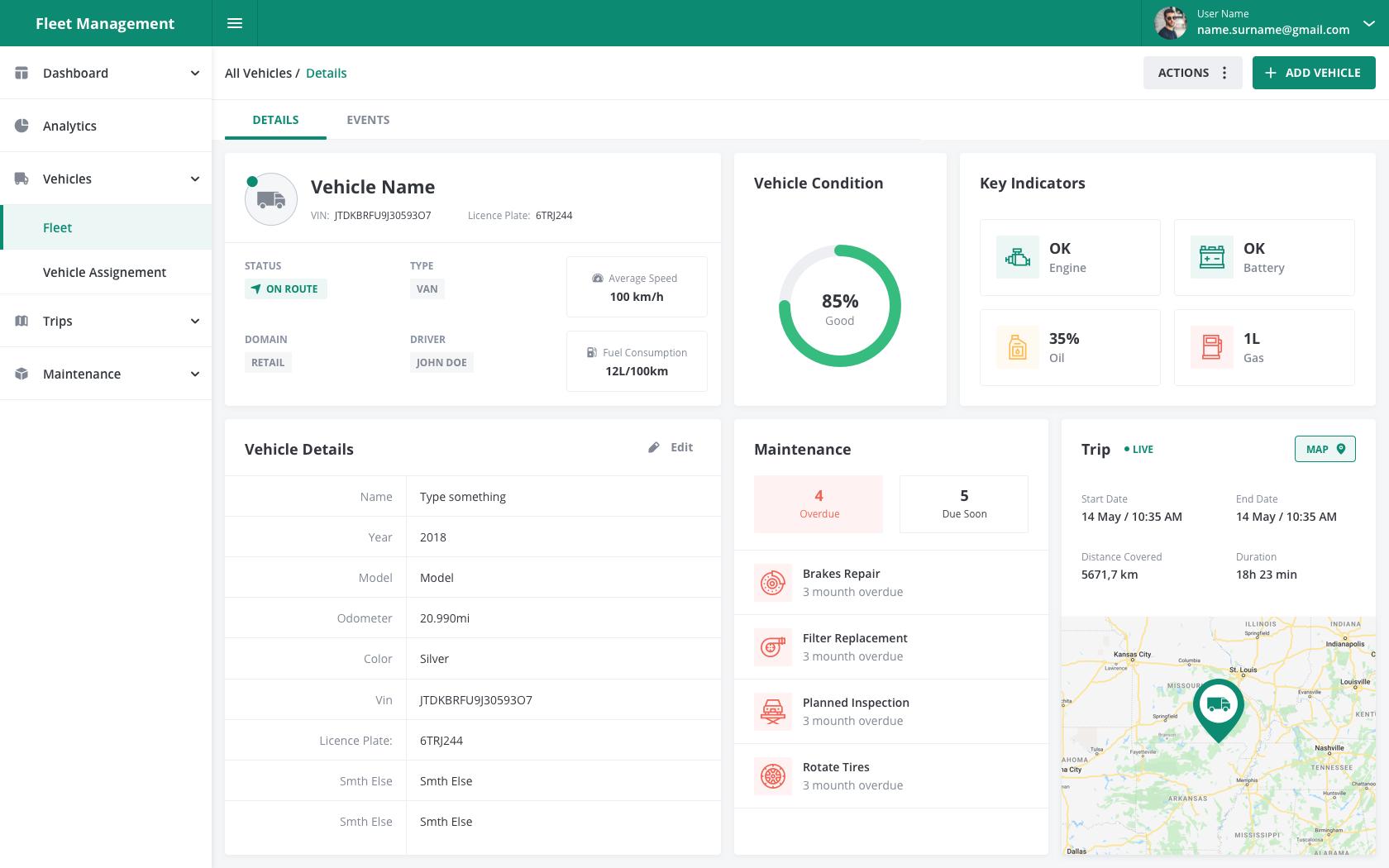 Fleet Management Dashboard Vehicles Details