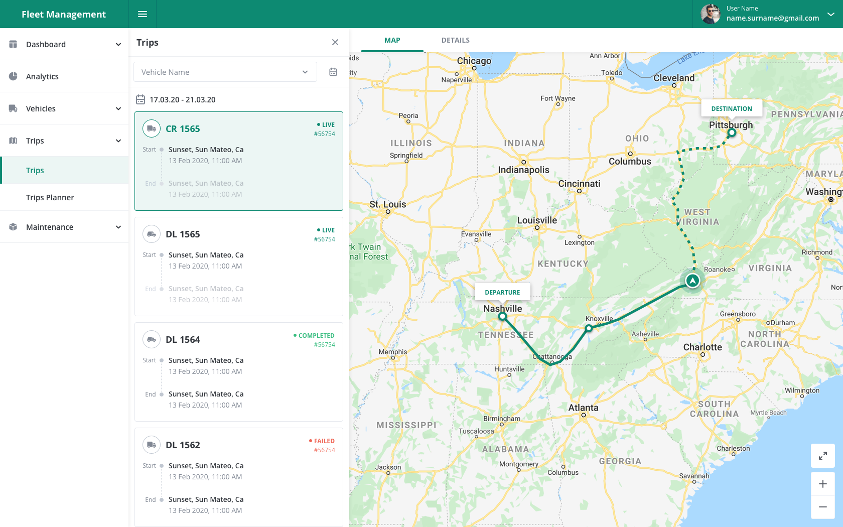 Fleet Management Dashboard Trips Details