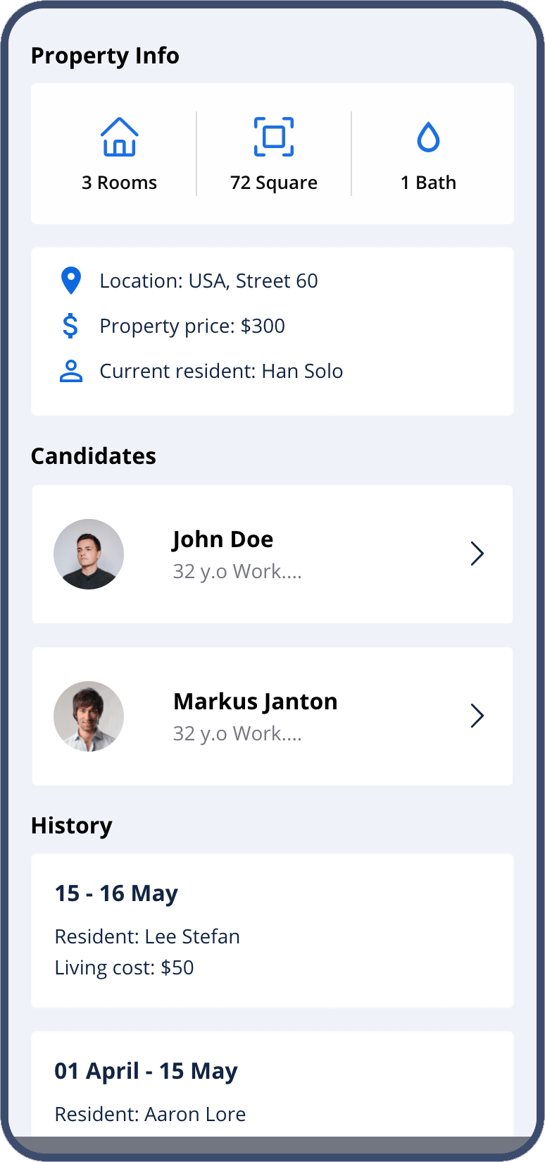 mobile app for real estate - property info