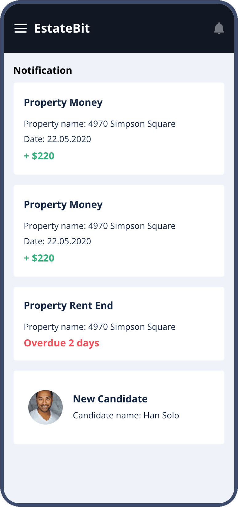 mobile app for real estate - notification