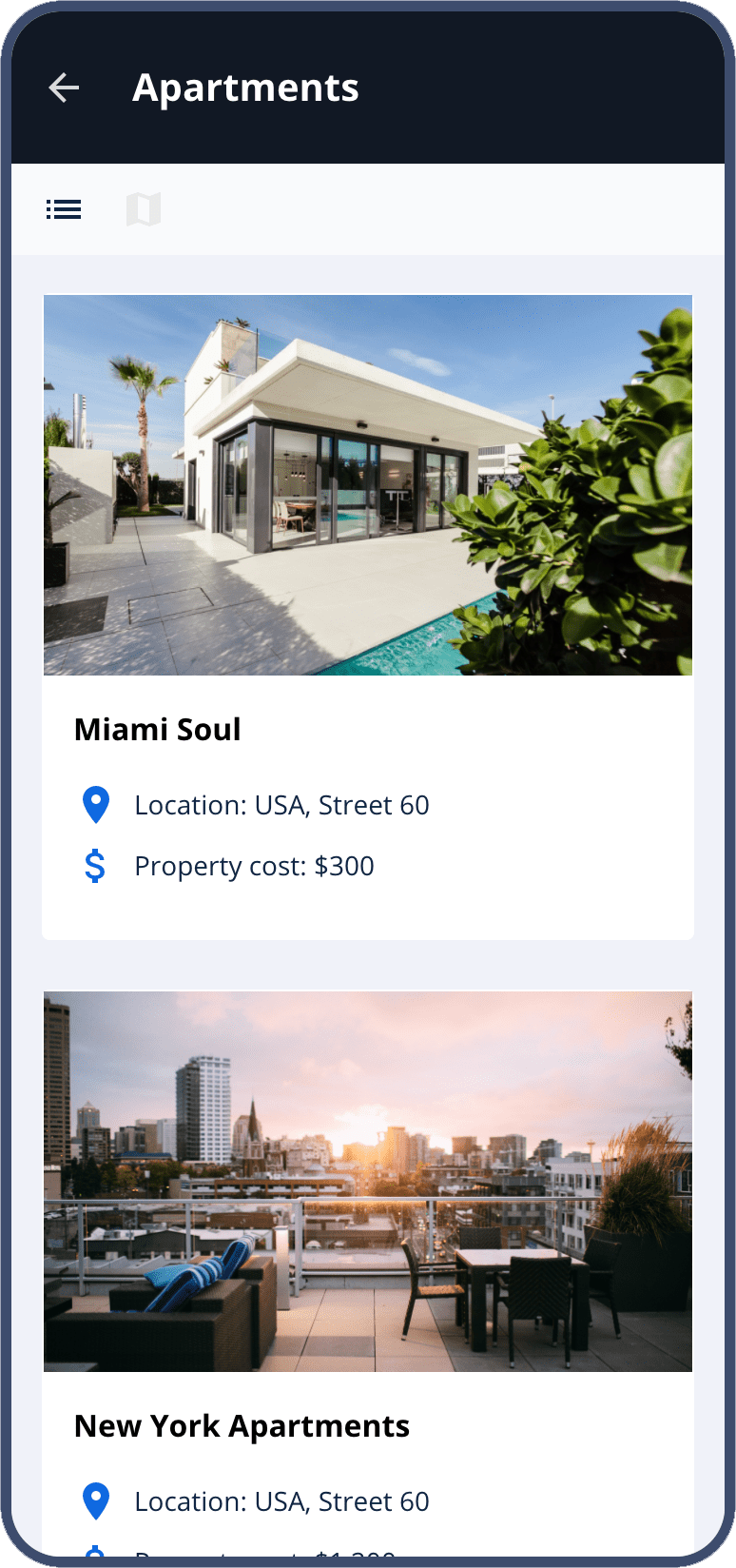 mobile app for real estate - appartments