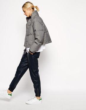 Enlarge ASOS WHITE Grey Marl Quilted Jacket: