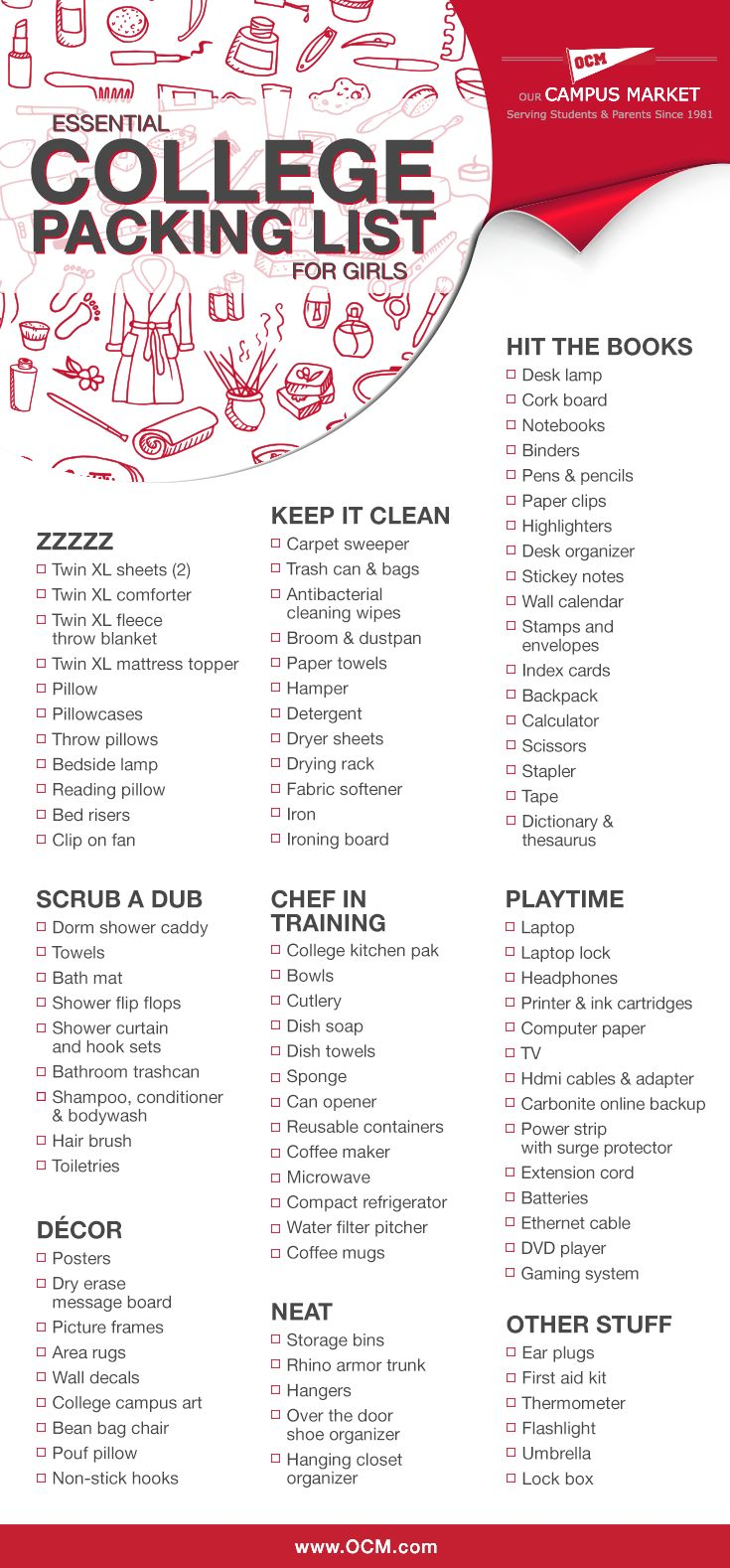 Move In Checklist For Girls