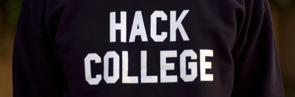 close up of t-shirt saying hack college