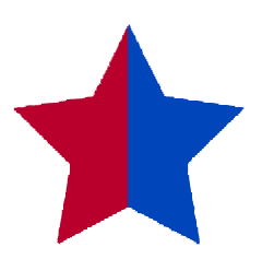 red and blue star icon