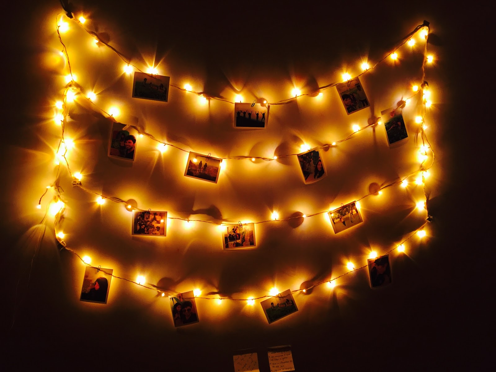 rows of string lights with photos