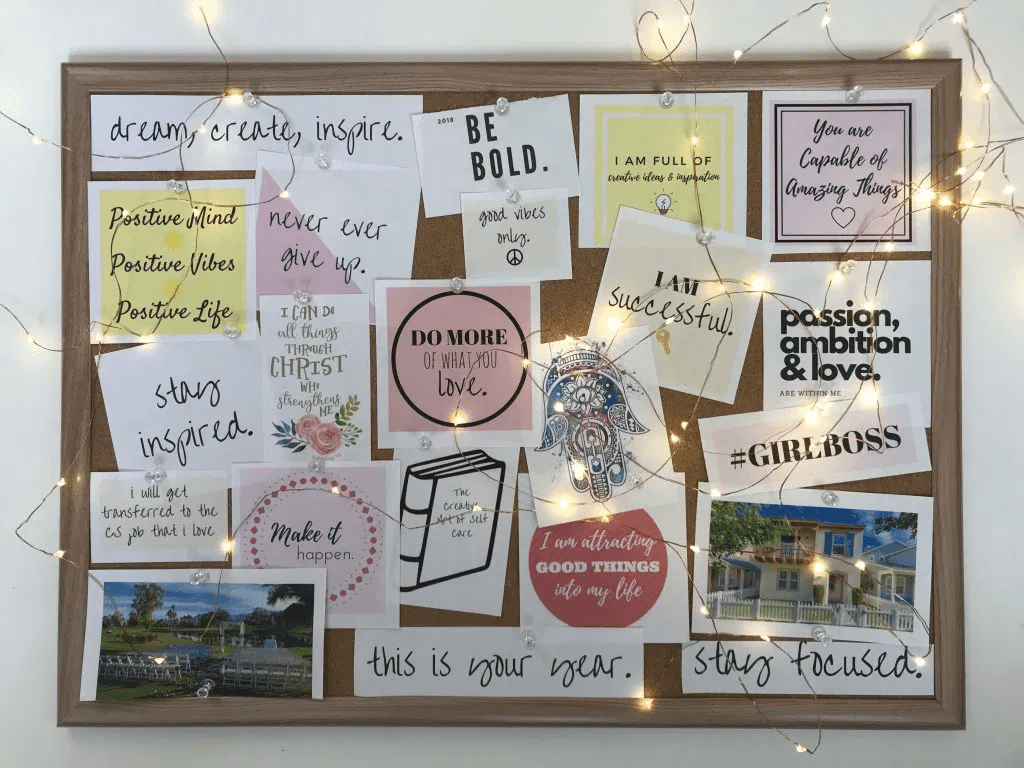 mood board with various notes posted on it