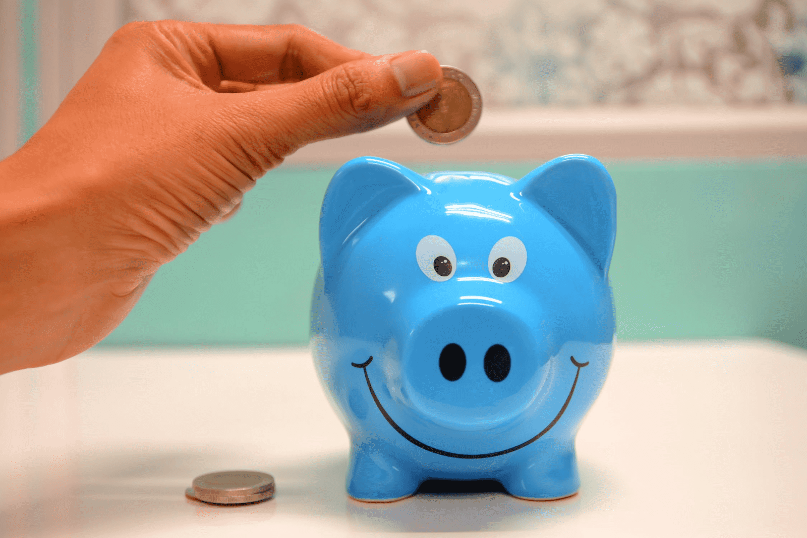 blue piggy bank