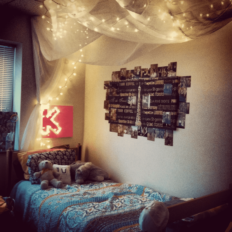 dorm room with dimmed lighting