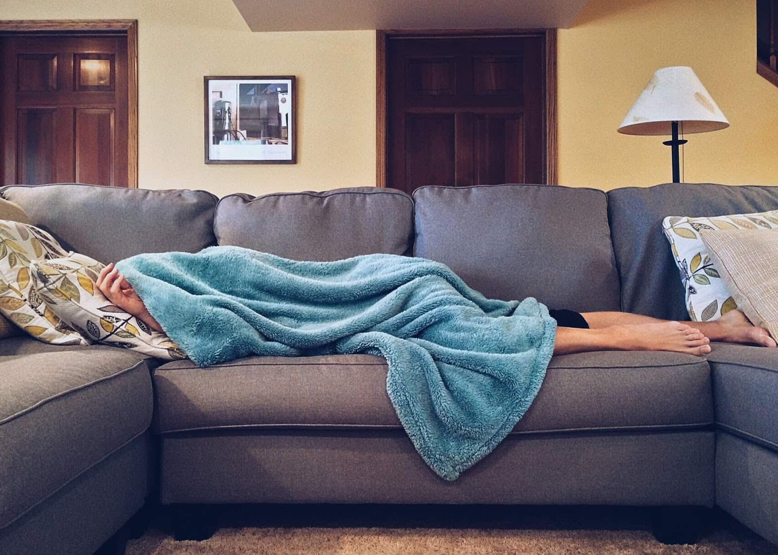 person sleeping on a couch