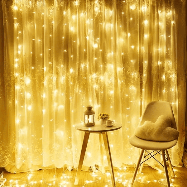 string lights on a curtain