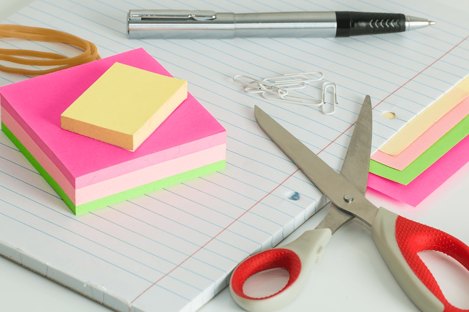 notebook and sticky notes