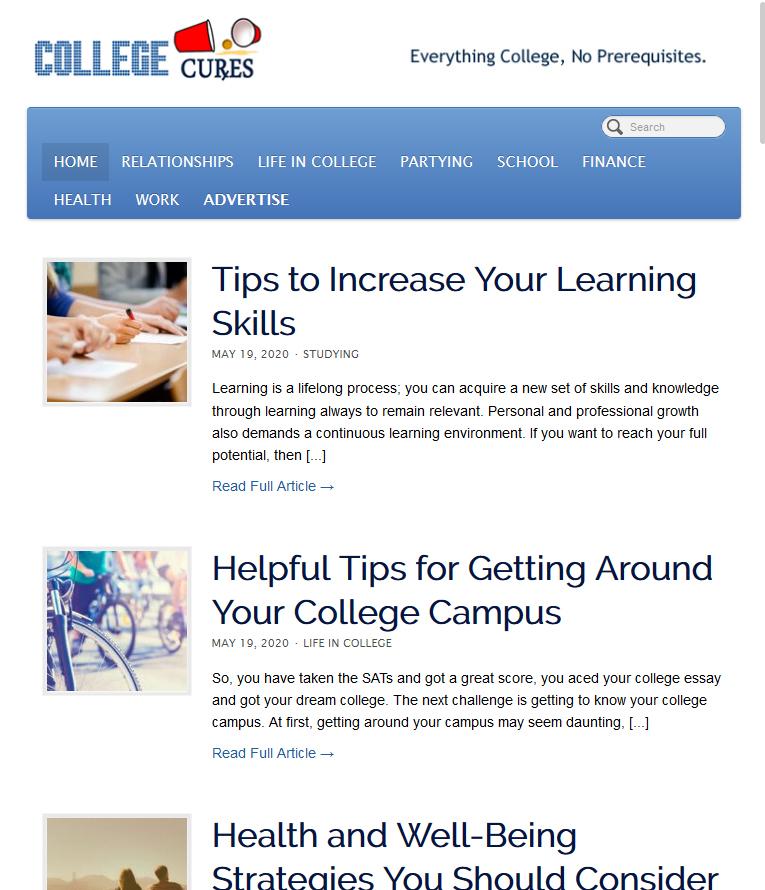 College Cures Website