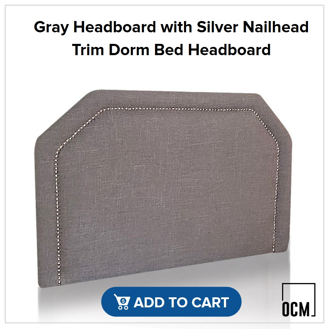 Gray Headboard with Silver Nailhead Trim Dorm Bed Headboard