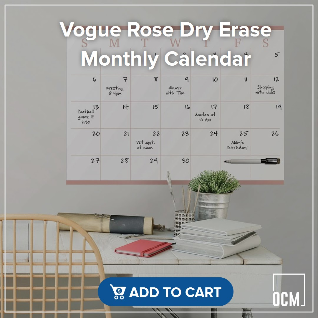 Vogue Rose Dry Erase Monthly Calendar