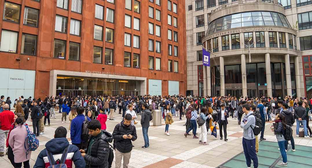 Photography of students in NYU's Gould Plaza