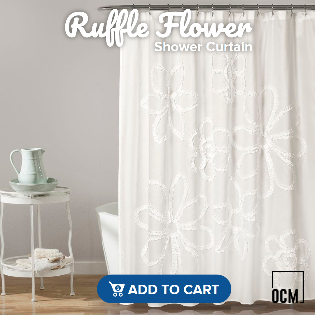 Ruffle Flower Shower Curtain