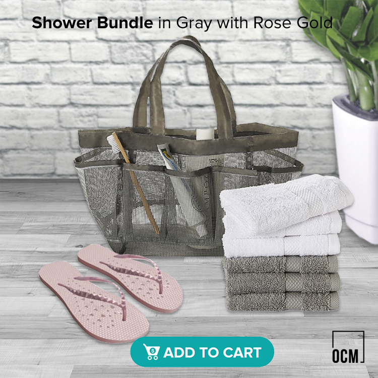 Shower Bundle in Gray with Rose Gold Showaflops