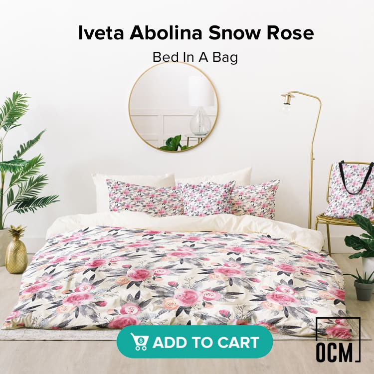Iveta Abolina Snow Rose Bed In A Bag