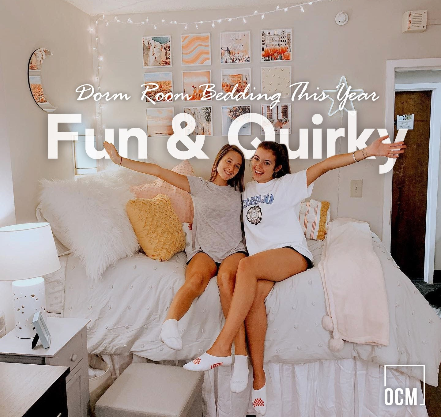 Two young girls sit on bed room